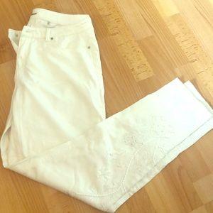 Elie Tahari White straight leg denim jeans w beads